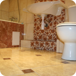 Оригинальная отделка кафельной плиткой туалета
