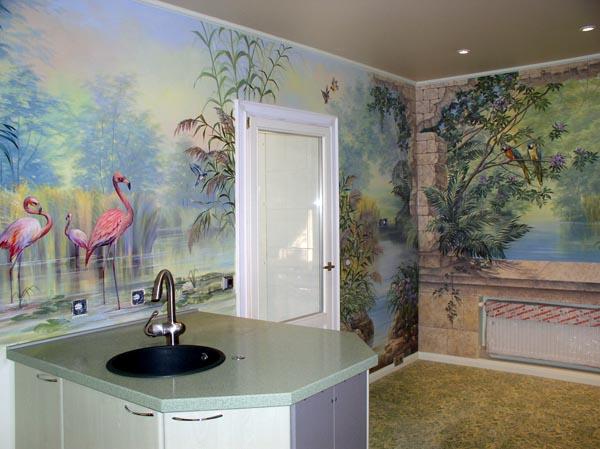 Цвет кухни играет немаловажное значение при выборе сюжета росписи.